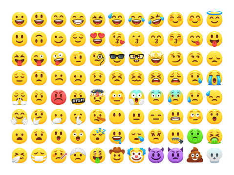 Funny Cartoon Yellow Emoji And Emotions Icon Collection Mood And Facial Emotion Icons Crying Smile Laughing Joyful Sad Angry And Happy Faces Emoticons Vector Set - Stockowe grafiki wektorowe i więcej obrazów Aplikacja mobilna