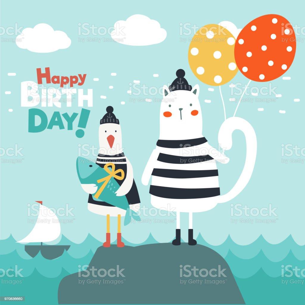 Lustige Katze Und Niedlichen Möwe Mit Fisch Und Luftballons Alles