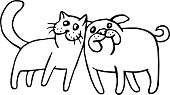 Funny cat and dog. Isolated vector illustration.