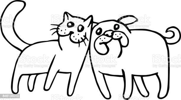 Funny cat and dog isolated vector illustration vector id846135010?b=1&k=6&m=846135010&s=612x612&h=w4pkakmydhu1fk11o8p8t2htbcqphl9g4jsbtikt5uu=