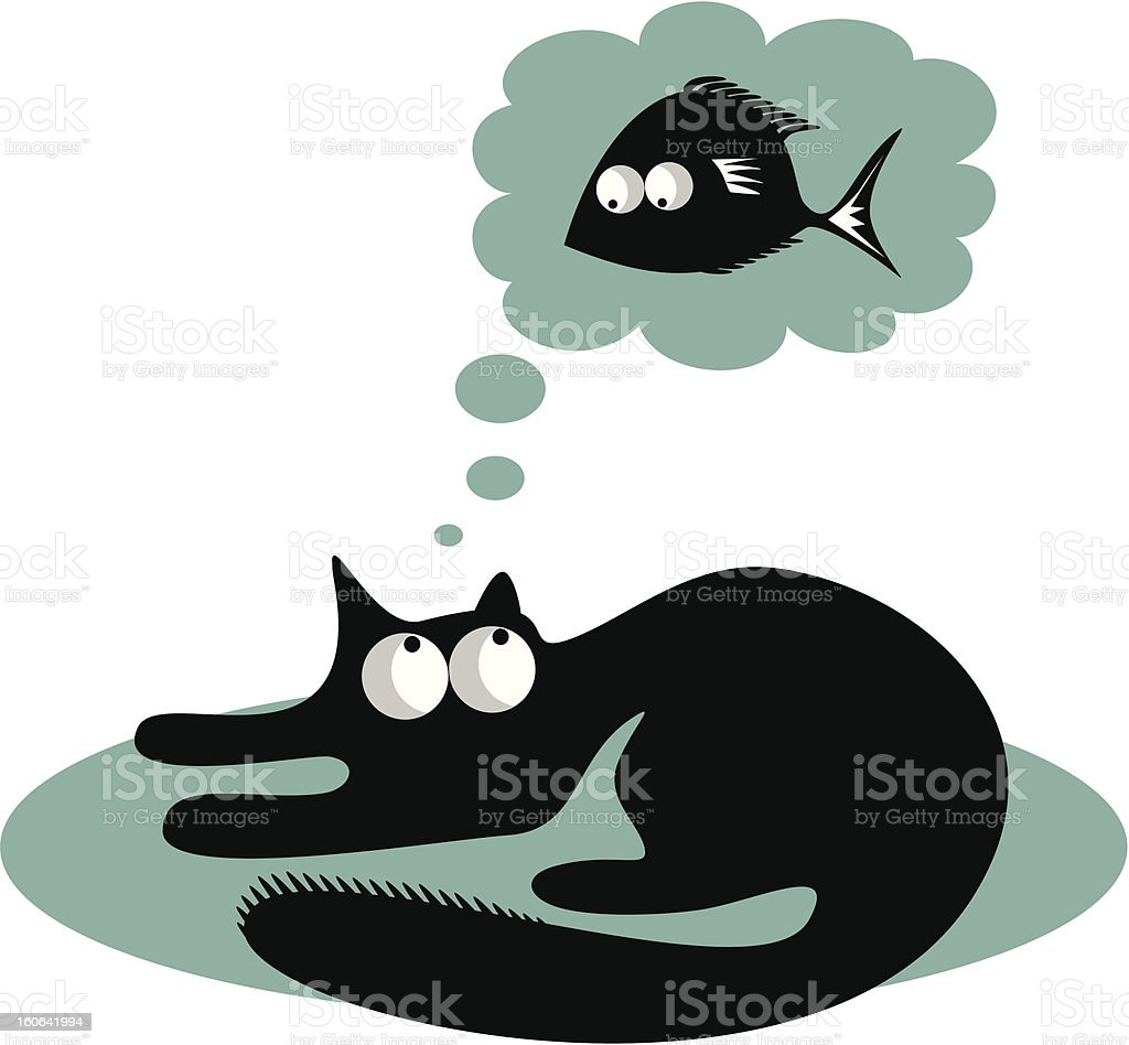 Funny cat and fish royalty-free stock vector art