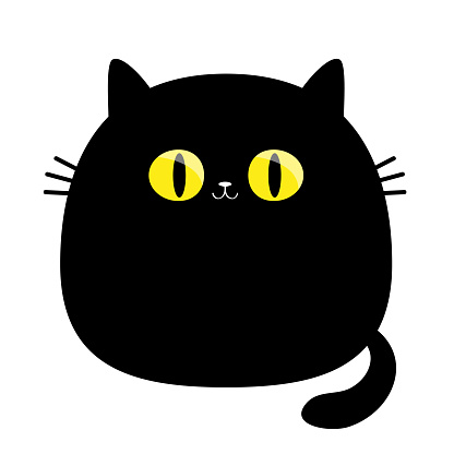 Funny cat. Big yellow eyes. Black silhouette. Cute cartoon character. Moustaches. Baby pet animal collection. Happy Halloween. Sticker tshirt print template. Flat design. White background. Isolated.