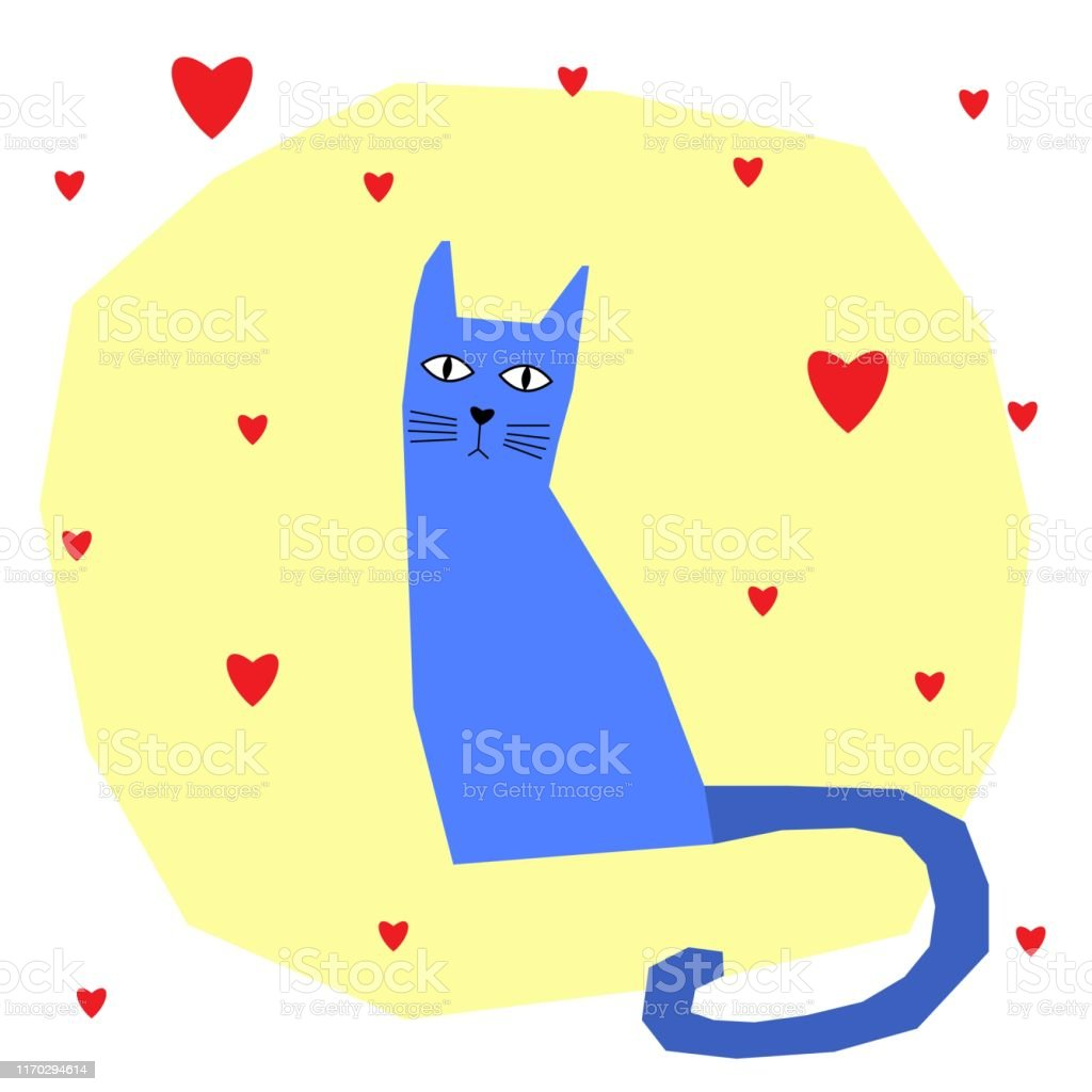 Funny cat card template. Abstract cute childihs craft cat...