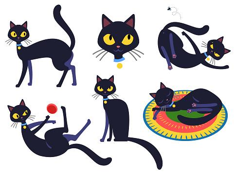 Engraçado gato personagem set 2