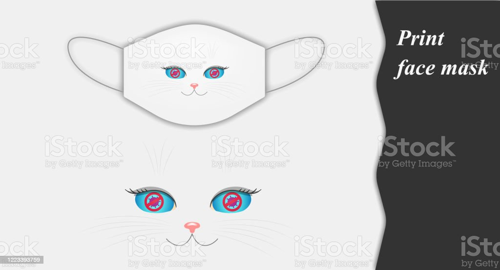 A Funny Cat Face On A Face Mask That Longs To Stop The Spread Of