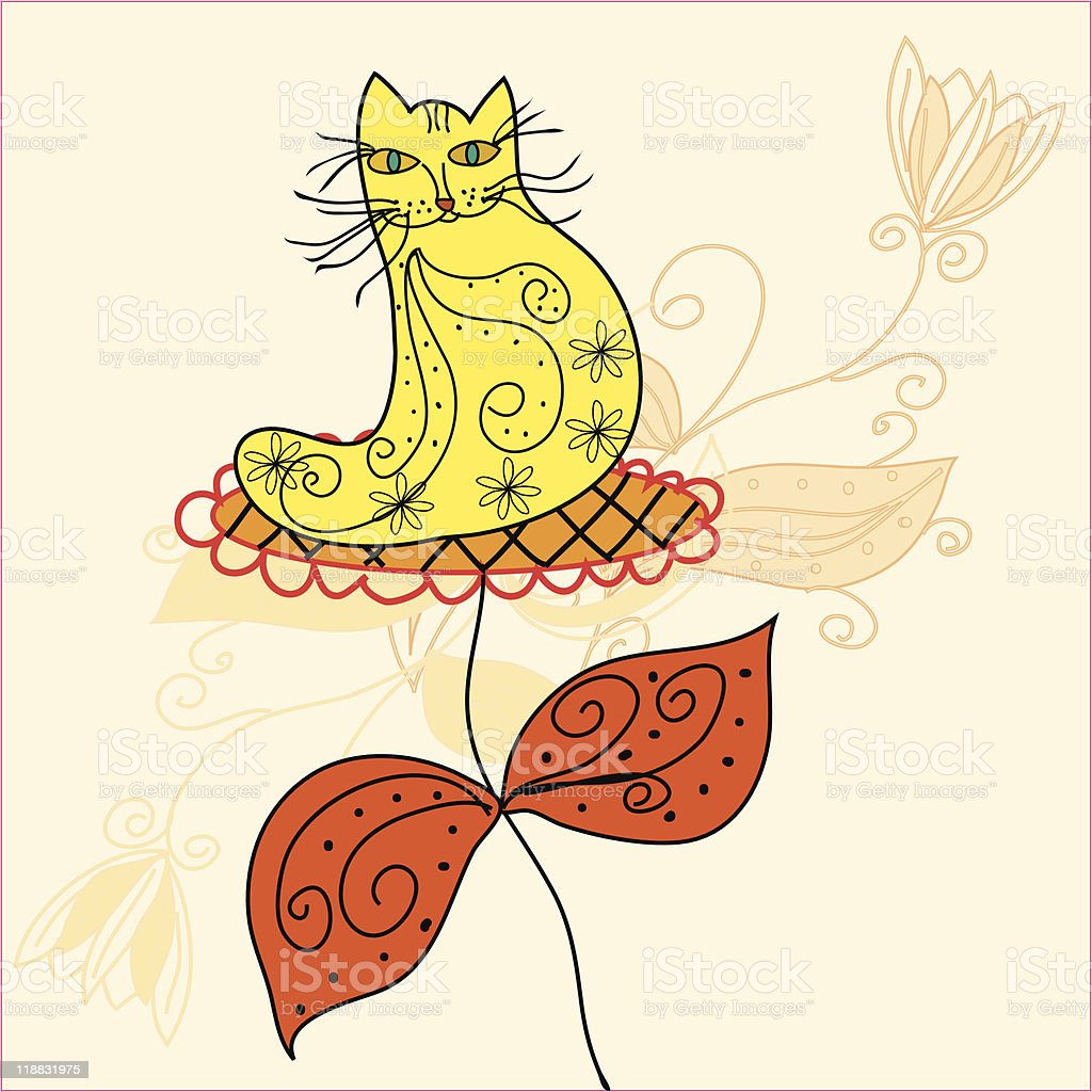 Funny cat in big flower royalty-free stock vector art