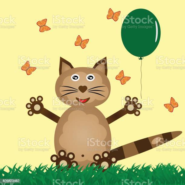 Funny cat in the grass releases a balloon flying butterflies vector id826823462?b=1&k=6&m=826823462&s=612x612&h=jo9o07r9usr8qp0w1ikr gbge1v4mlbtdopjo4he6dq=