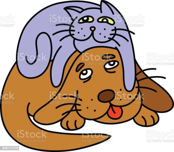 Funny cat laying on the dog vector illustration vector id846141220?b=1&k=6&m=846141220&s=612x612&h=0glvuyfa1ftsb ed9cy k9bybzcnkexzom18dejmu1c=
