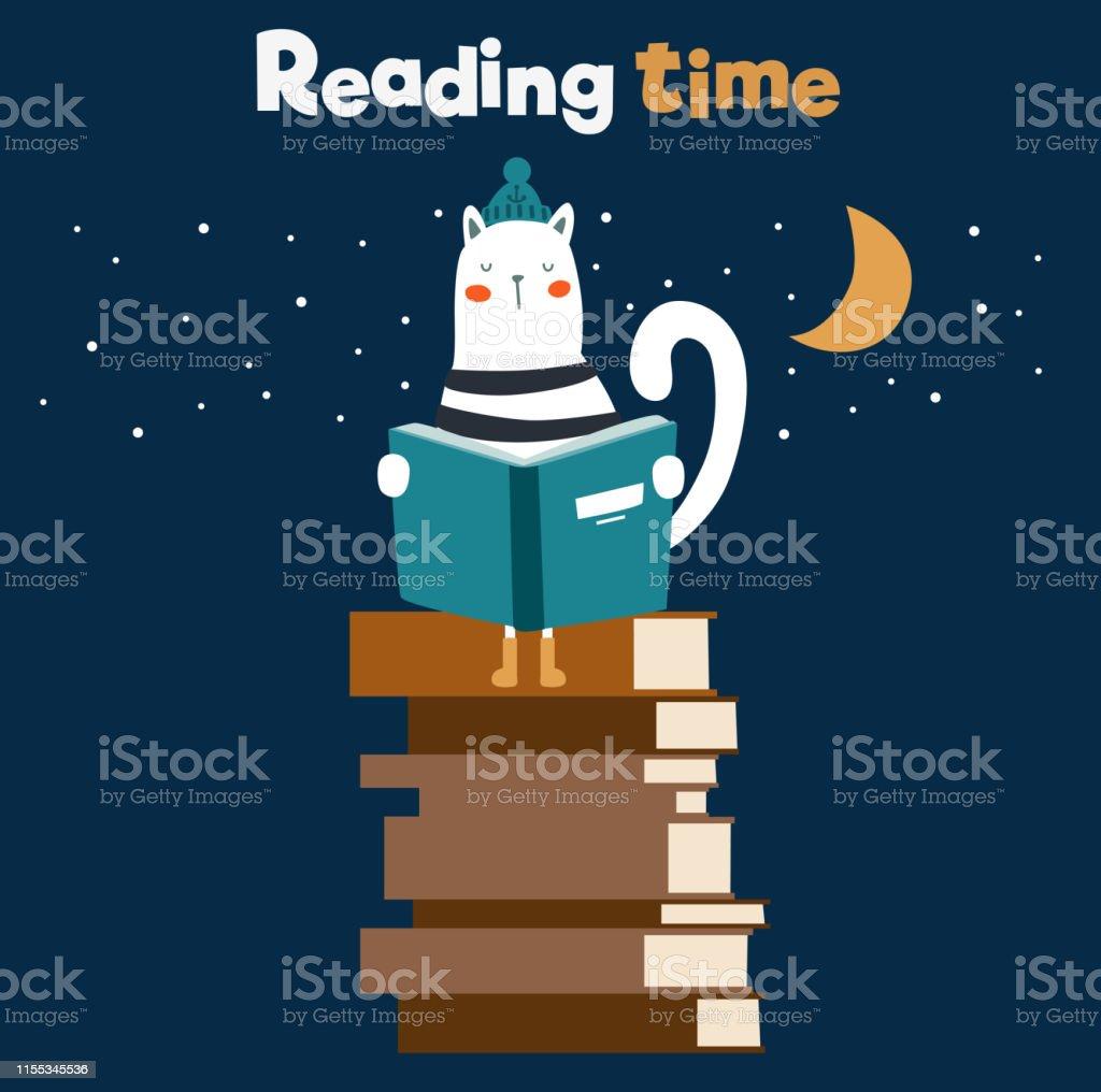 Funny cat reading books