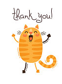 Funny cat says thank you. Vector illustration in cartoon style