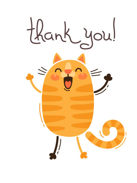 funny cat says thank you. vector illustration in cartoon style - redhead stock illustrations