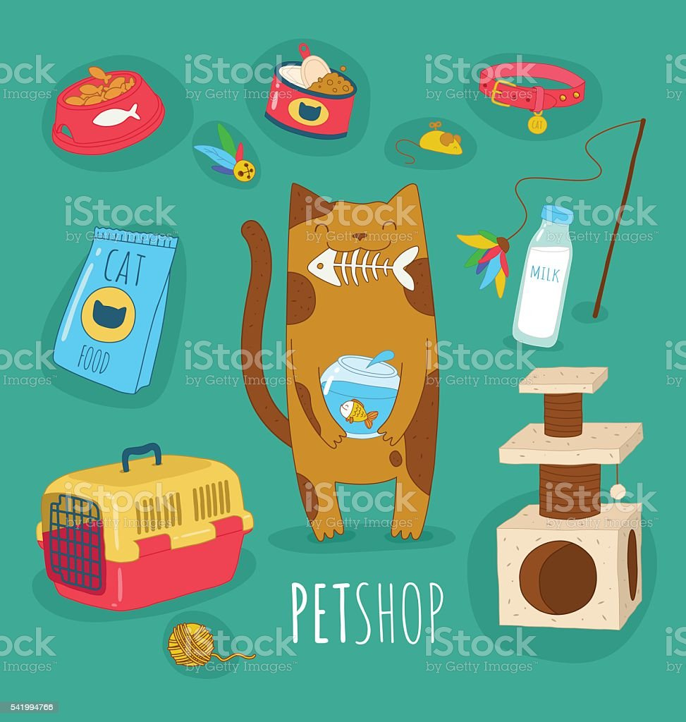 Funny cat set vector art illustration