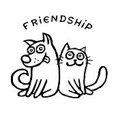 Funny cat Tik and his friend dog Kik. Best friends. Vector illustration.