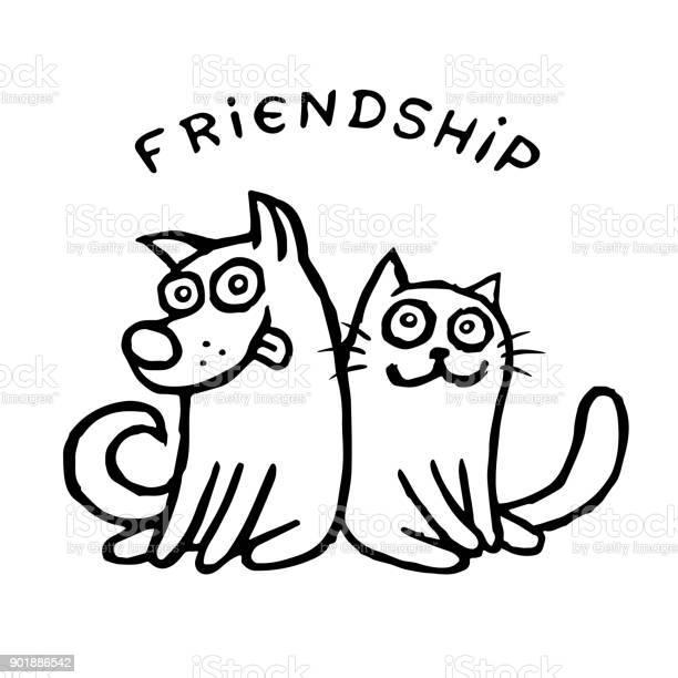 Funny cat tik and his friend dog kik best friends vector illustration vector id901886542?b=1&k=6&m=901886542&s=612x612&h=qsspqnuz6htd i 0ahsjbyrkvfpb5qo5uxydy3 s8se=