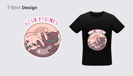 Funny cat twins zodiac sign. Print on T-shirts, sweatshirts, cases for mobile phones, souvenirs. Vector illustration with slogan best friends