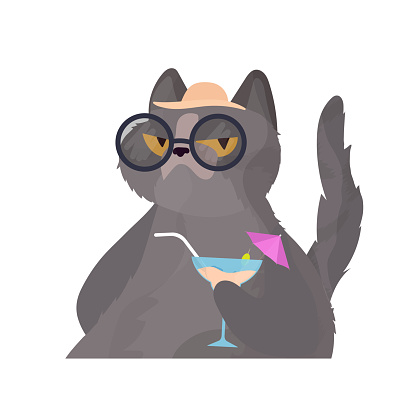 Funny cat with a cocktail. Cat in glasses and a hat. Good for stickers, cards and t-shirts.