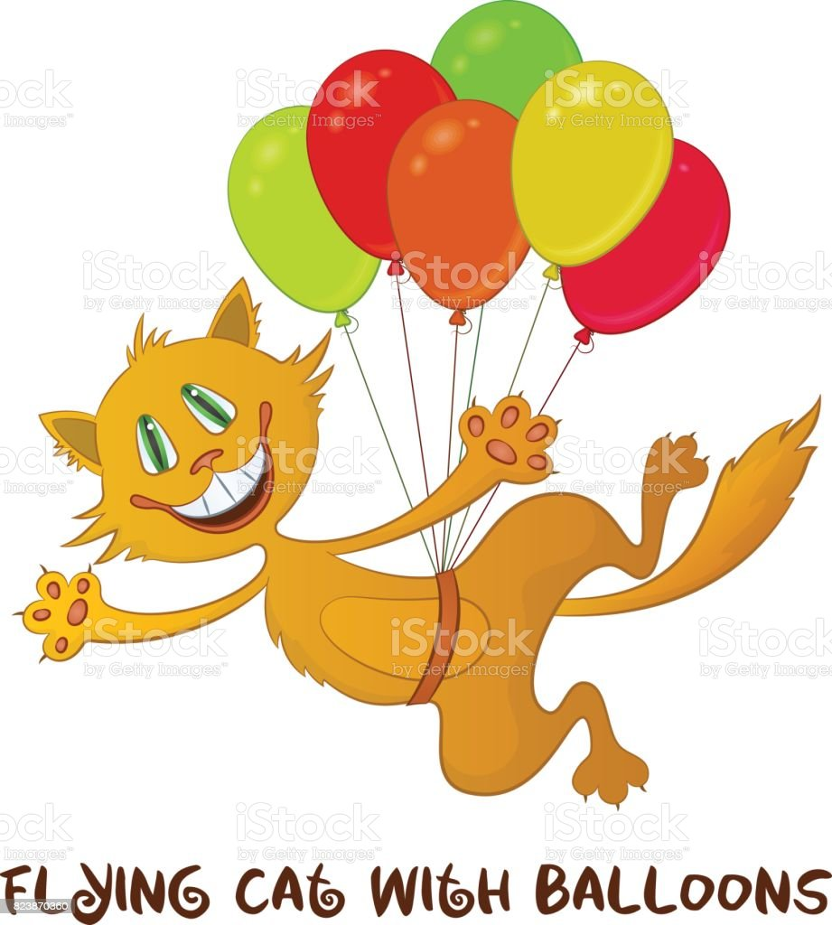 Funny Cat with Balloons vector art illustration