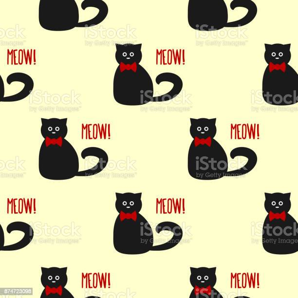 Funny cat with round eyes and a bow text meow seamless pattern vector id874723098?b=1&k=6&m=874723098&s=612x612&h=rx8obxgt4ueagjn83fqs kcwn5hq6cuyoixfjk64b1y=