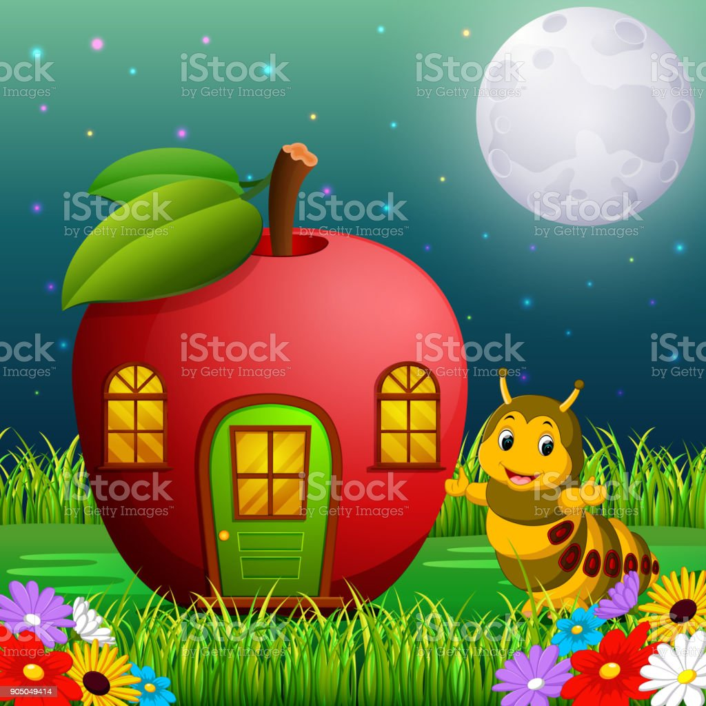 funny caterpillar and a apple house in forest vector art illustration