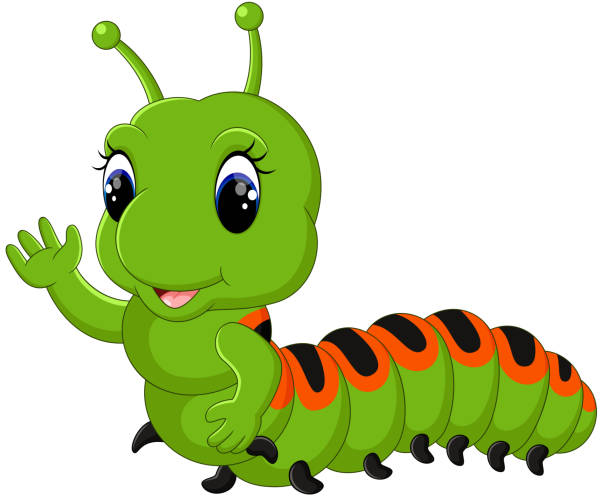 stockillustraties, clipart, cartoons en iconen met funny caterpillar runs - bargerecht