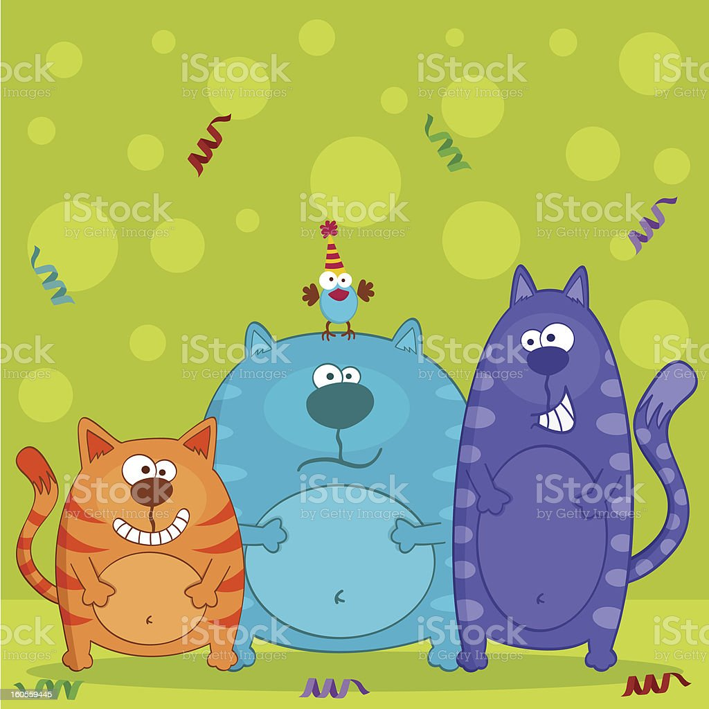 funny cats and bird vector royalty-free funny cats and bird vector stock vector art & more images of animal