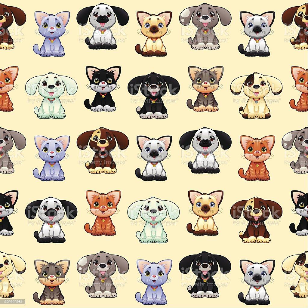 Divertenti Cani E Gatti Con Sfondo Immagini Vettoriali Stock E