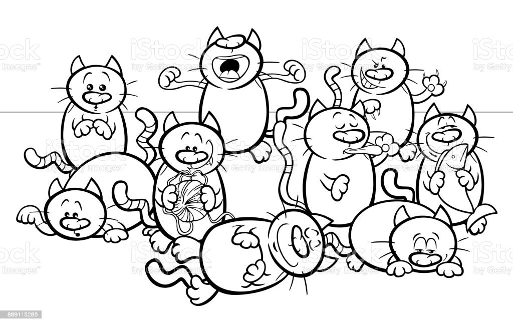 Funny Cats Cartoon Illustration Color Book Stock Vector Art & More ...