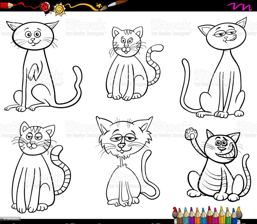 Ilustración De Personajes Divertidos De Gatos Para Colorear Libro Y Más Vectores Libres De Derechos De Animal