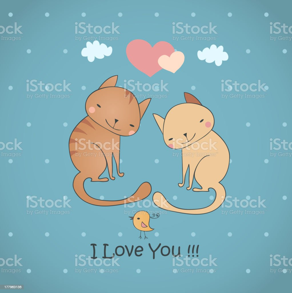 Funny cats falling in love. royalty-free stock vector art