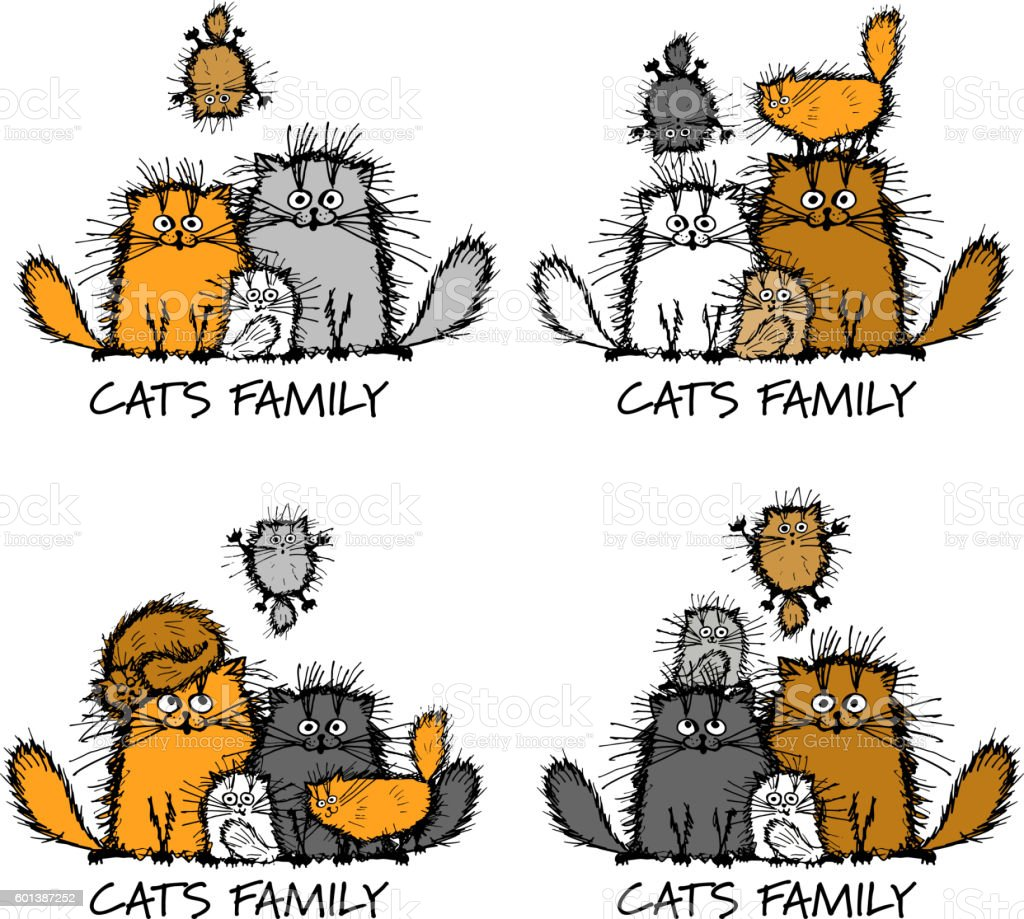 Funny cats family, sketch for your design vector art illustration