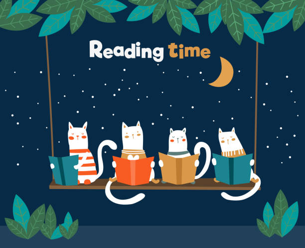 stockillustraties, clipart, cartoons en iconen met funny cats lezen boeken over swing - prentenboek