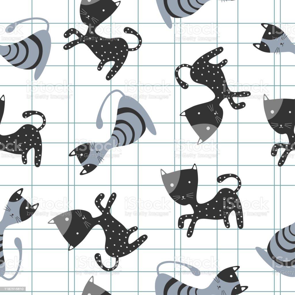 Vetores De Teste Padrao Sem Emenda Dos Gatos Engracados Desenho