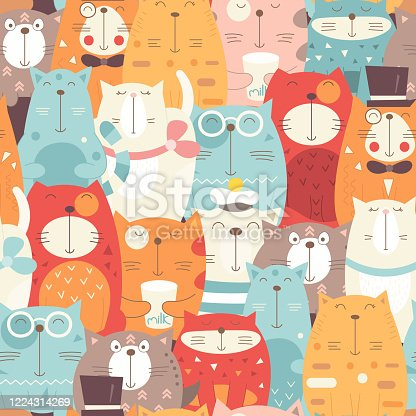 Funny Cats seamless pattern with different cute kittens. Feline background. Vector Illustration. The print is perfect for wallpaper, baby clothes, greeting card, wrapping paper.