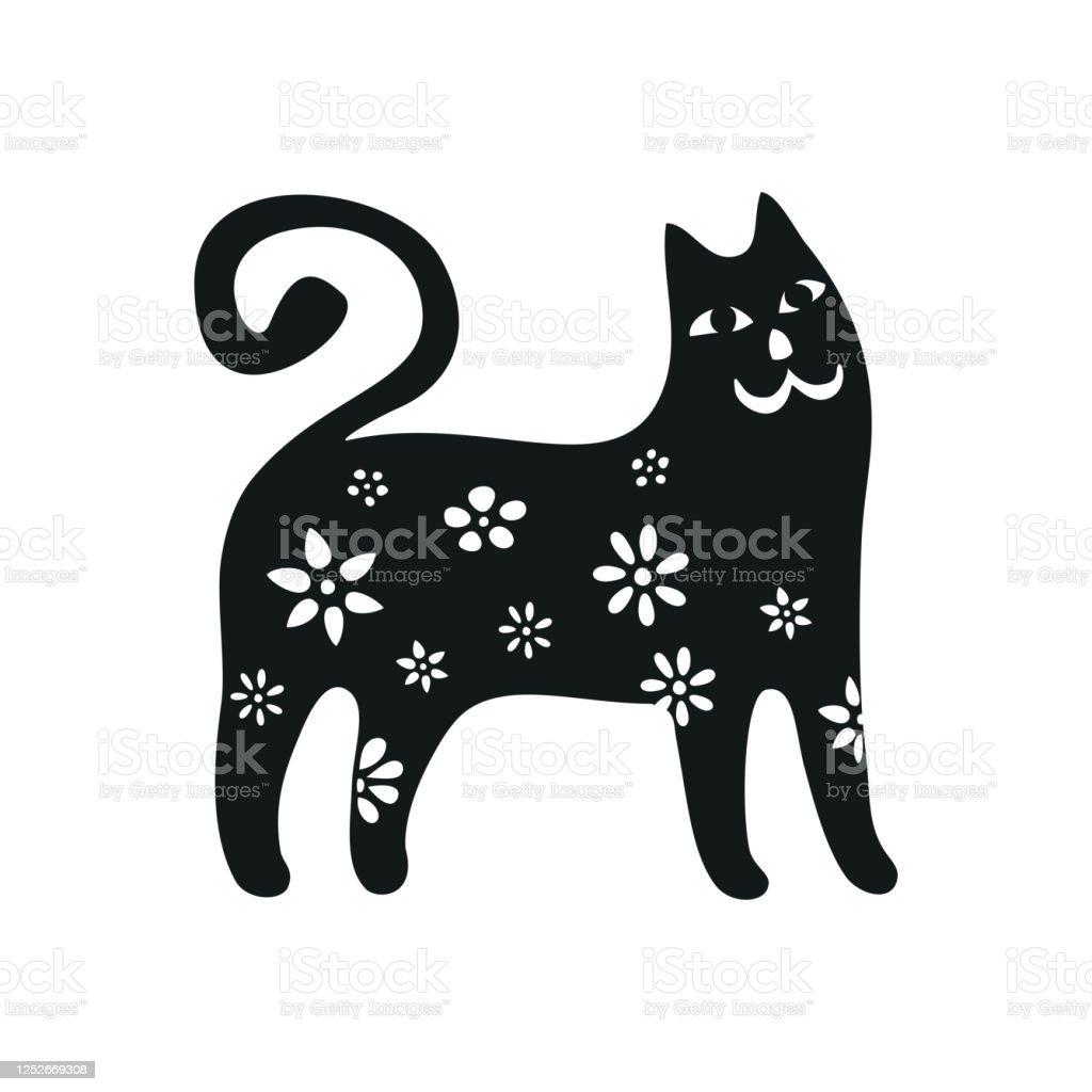 Set Kucing Lucu Koleksi Siluet Kucing Hitam Gaya Kartun Ilustrasi ...