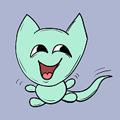 Funny cats. Suitable for childrens stories and fairy tales. Vector illustration