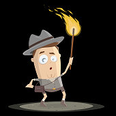funny cave explorer holding a torch