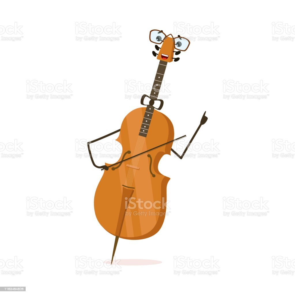 Funny Cello String Musical Instrument Cartoon Character Vector...