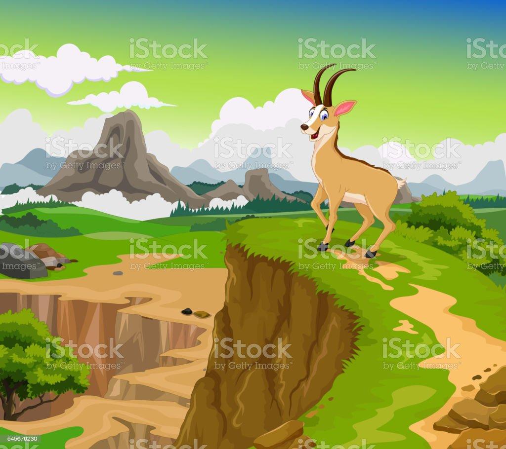 Funny chamois cartoon with beauty cliff mountain landscape funny chamois cartoon with beauty cliff mountain landscape background funny chamois cartoon with beauty voltagebd Images