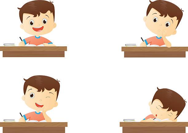 ilustrações, clipart, desenhos animados e ícones de funny character boy studying in school - aula de redação