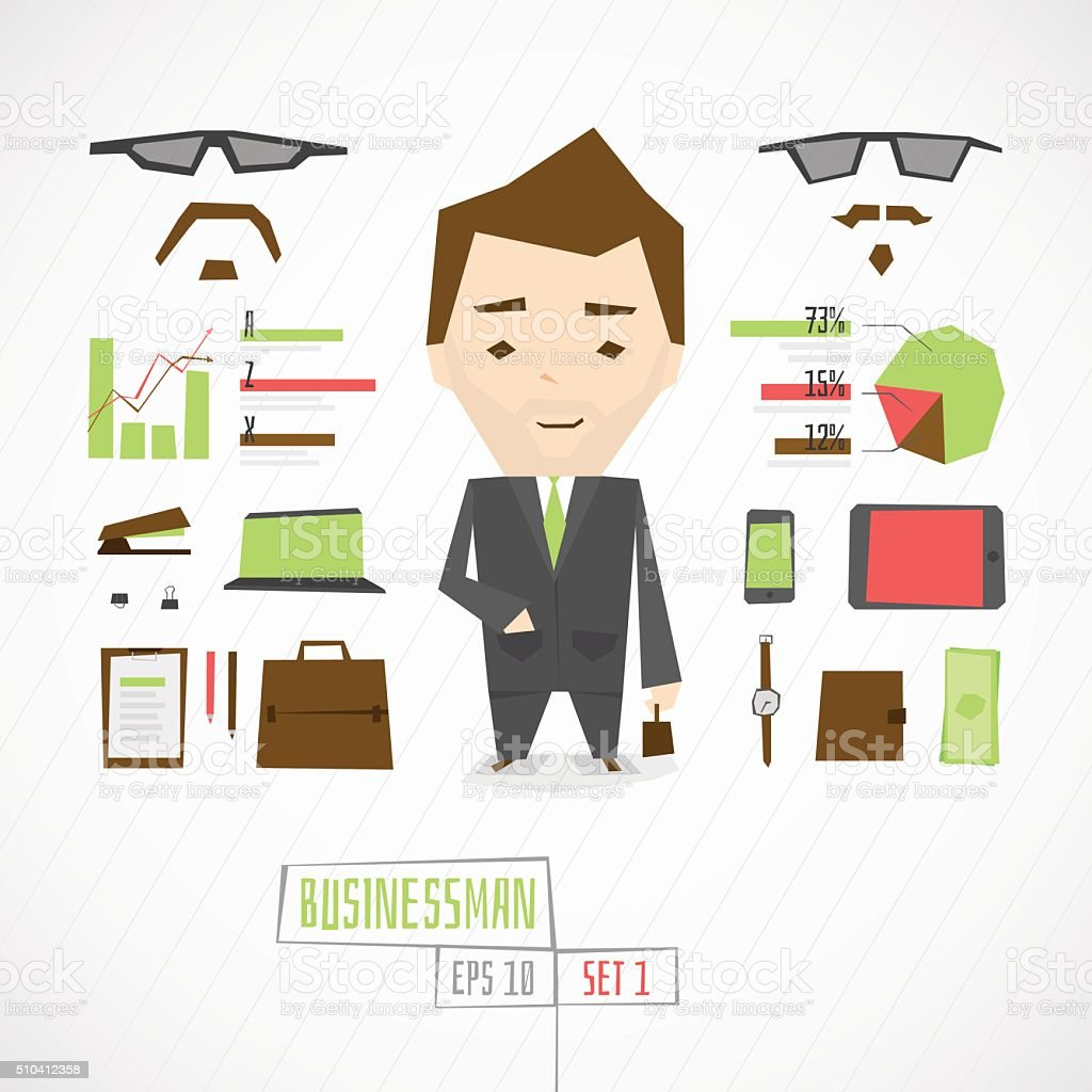 Funny character businessman vector art illustration