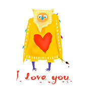 Funny character in love. Cartoon owl with heart shape and text I love you. Greeting card for Valentine's Day. Vector illustration
