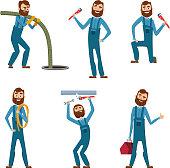 Funny character of repairman or plumber in different poses. Vector mascot design