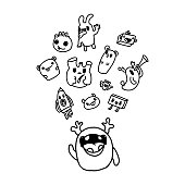 Funny characters and doodles collection. Vector illustration. for the design of t-shirts, children s clothing, fabrics, games, applications, the idea of a soft toy, the design of dishes and mugs, gifts.