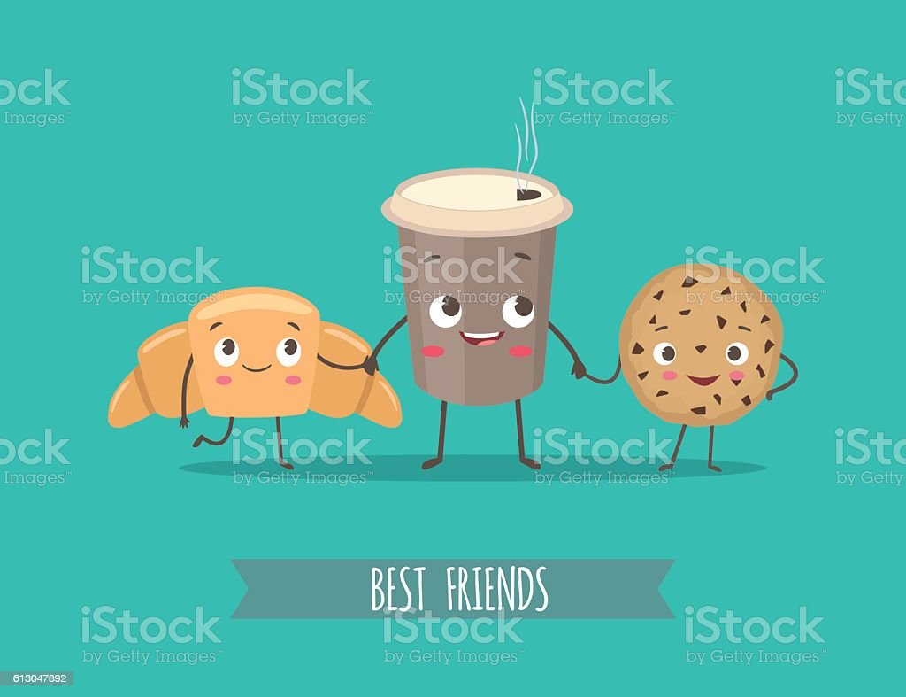 Funny characters croissant, cookies with chocolate and cup of coffee - Royalty-free Bread stock vector