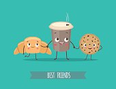 Funny characters croissant, cookies with chocolate and cup of coffee