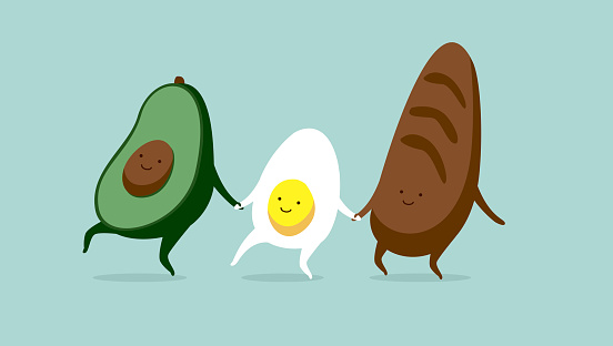 Funny characters egg avocado and bread.Breakfast or brunch sandwich. Best friends set. Funny food. Cute stylish characters.
