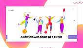 Funny Characters in Costumes for Circus Show or Entertainment. Clowns, Animators in Clown Suit, Curly Ginger Wig and Red Nose. Website Landing Page, Web Page. Cartoon Flat Vector Illustration, Banner