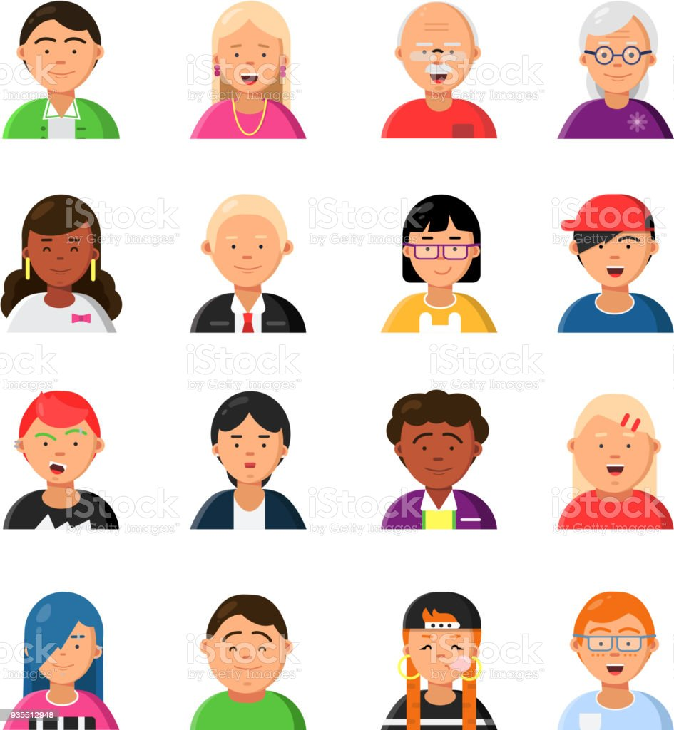 Funny characters male and female web avatars royalty free funny characters male and female