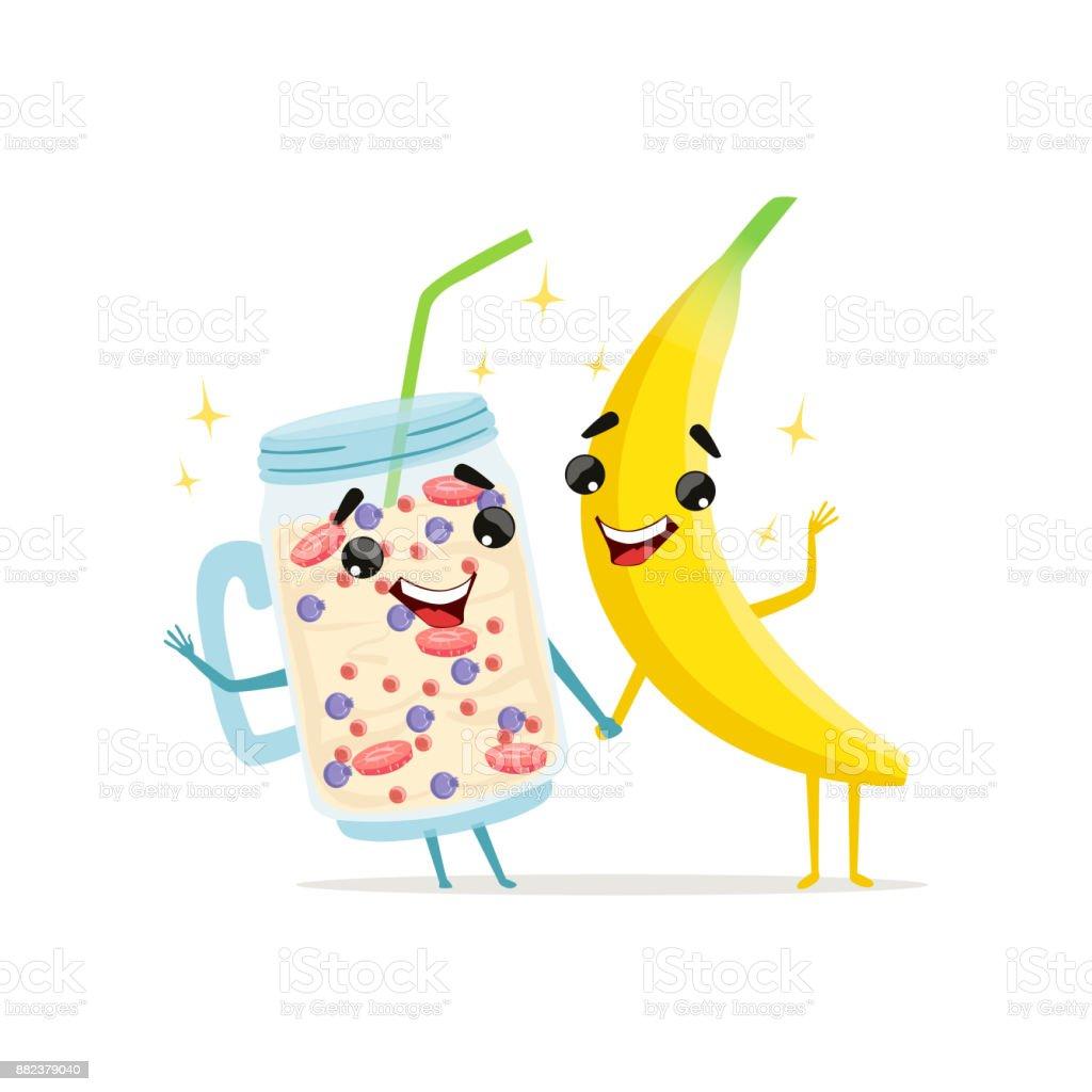 Ilustración De Personajes Divertidos De Batido De Plátano Y Fruta