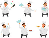 Funny characters of chef in action poses. Vector illustrations in cartoon style